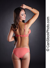 Lovely caucasian model posing in pink lingerie - Lovely...