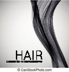 Closeup of long human hair Vector illustraion on grey...