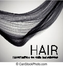 Closeup of long human hair. Vector illustraion on grey...