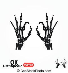 OK orthopedic  ( X-ray human hand with OK sign )