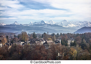 Swiss Alps - A view of the Swiss Alps as seen over the...