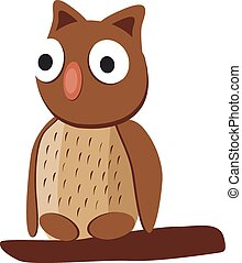 Cute brown owl with big eyes on a w