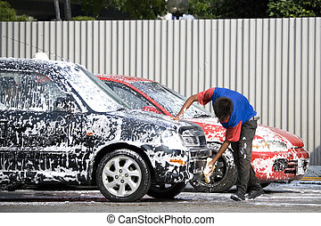 Car Wash - Image of a commercial car washer in action
