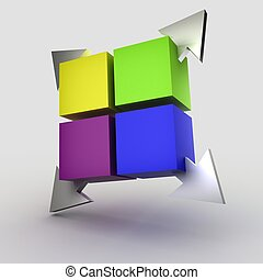 Colorful cubes with arrows 3D on the gray