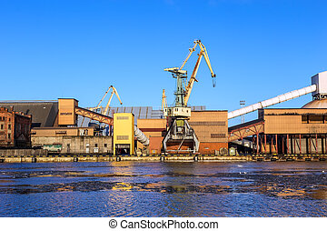 Marine cargo port of Ventspils on the Baltic Sea, Latvia,...
