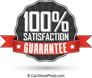 Satisfaction guarantee retro label with red ribbon, vector...