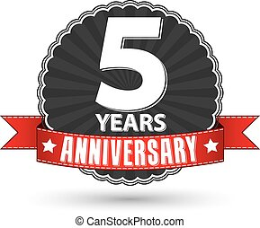 Celebrating 5 years anniversary retro label with red ribbon,...