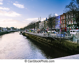 View of river in Dublin street trafic