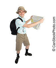 Funny man photographer with map and backpack - Happy man...