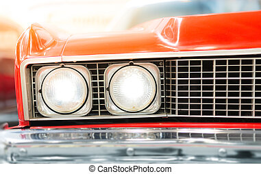 Close Up of Headlight of Red Classic Car - Close Up Detail...