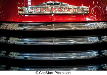 Radiator grille of a vintage Chevrolet. - Moscow, Russia -...