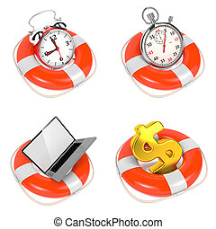 Alarmclock in Lifebuoy on White Background. Save the time...