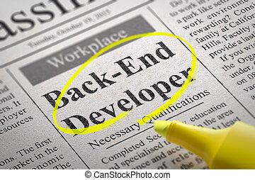 Back-End Developer Vacancy in Newspaper. Job Seeking...