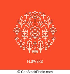 Vector line logo with flowers - Vector line logo and emblem...