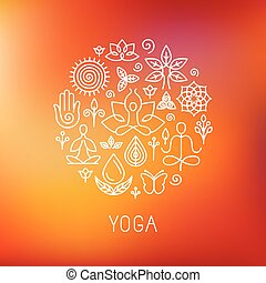 Vector yoga logo - icons and line badges - graphic design...