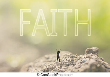 concept of faith - Concept of faith with a person stand in...
