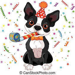 Boston terrier party - Illustration of cute Boston terrier...