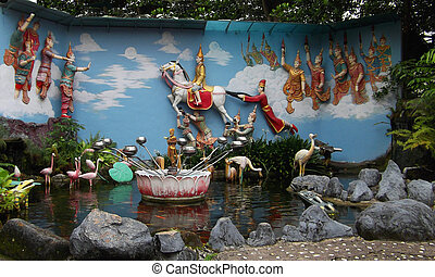 Burmese Wishing Well - Wishing well located at a Burmese...