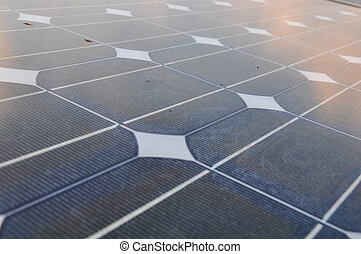 solar cell with sunlight background, Green energy or safe...