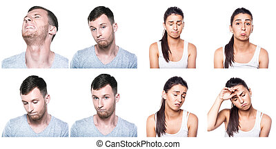 Sad, offended, unhappy, disappointed boy and girl composite