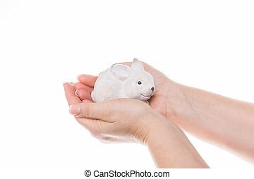 symbol for protect - little cute bunny of stone sitting in...