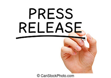 Press Release - Hand writing Press Release with black marker...