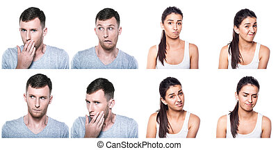 Unconfident, unsure, worried boy and girl composite