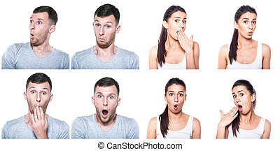 Surprised, amazed, wondering boy and girl composite