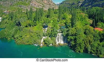Roski Slap waterfall, aerial shot - Copter aerial view of...