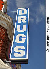 Vintage Drugs Store Sign - Vintage convenience drugs store...