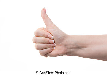 thumbs up - female hand with thumbs up against white...