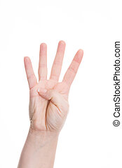 hand sign for four - female hands show four fingers against...