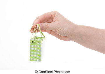 sale - female hand holding a little green shopping bag