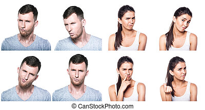 Doubtful,querstionable, incredulous boy and girl composite