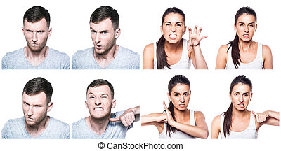 Angry boy and girl composite
