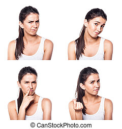 Doubtful,querstionable, incredulous girl composite