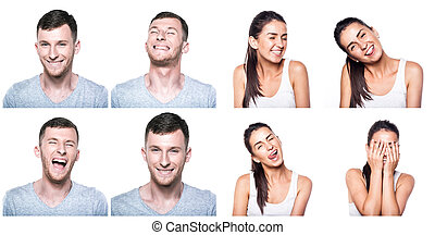 Joyful, happy boy and girl composite