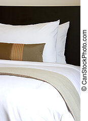 Pillows and Bed - Image of comfortable pillows and bed