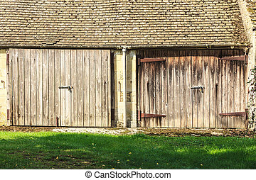The old wooden barn in the rural countryside