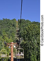 Sky lift transport tourists - A sky lift in Gatlinburg,...