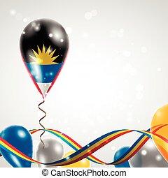 Flag of Antigua and Barbuda on balloon. Celebration and...