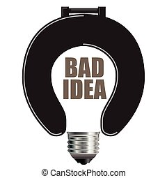 Bad Idea Concept - Light Bulb Bad Idea Concept with Toilet...