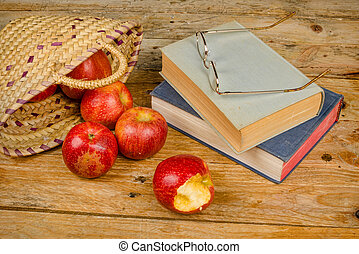 Fairy tales - Still life with books and ingredients of fairy...