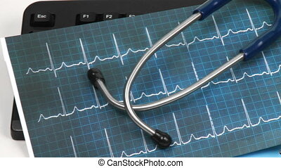 Stethoscope and electrocardiogram - Stethoscope and...