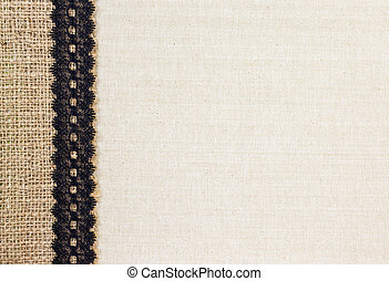 Burlap and Fabric - Fabric textile with Burlap and black...