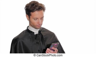 modern young priest taking a selfie - unconventional...