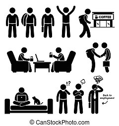 Freelancer Self-Employed - A set of human pictogram...