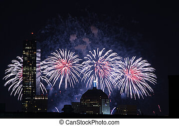 4th of July Fireworks - Fireworks go off over the city of...