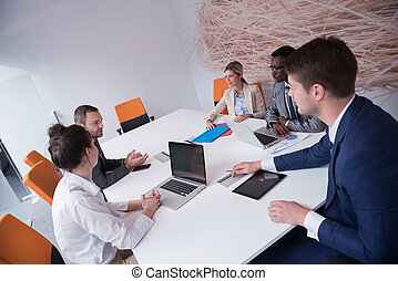 business people group at office - young business people...