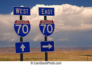 Highway Signs - Highway directional signage on a remote...